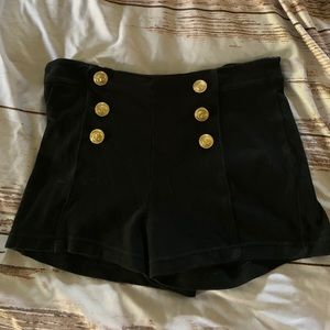 Pants - Black high waist sailor style shorts